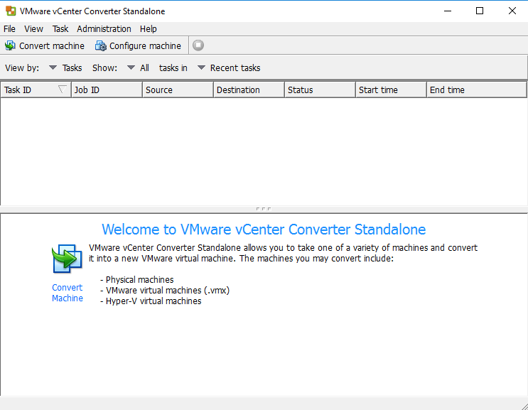 VMware vCenter Converter Standalone view