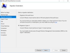 Microsoft Virtual Machine Converter view