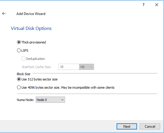 Virtual Disk Options