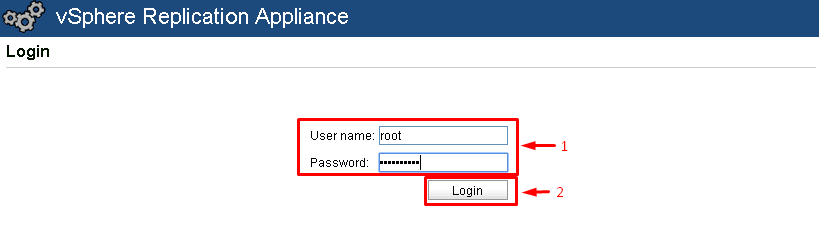 log into vSphere Replication appliance