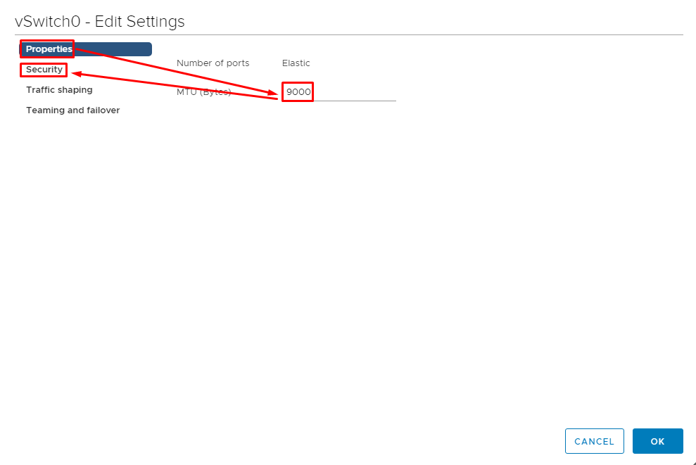 Go to vSwitch0 settings to set MTU value to 9000