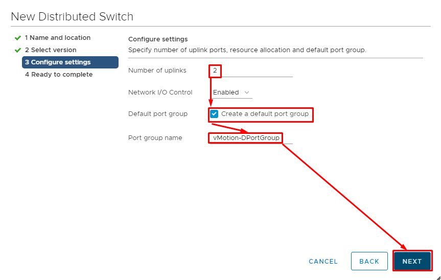 Specify 2 uplinks and assign the port group to the distributed switch