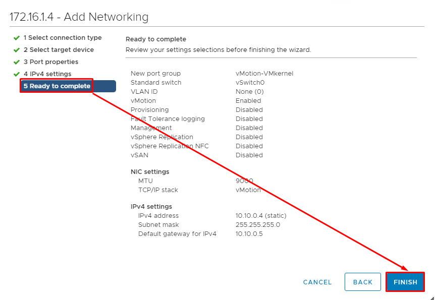 Review the settings and click Finish to create the network