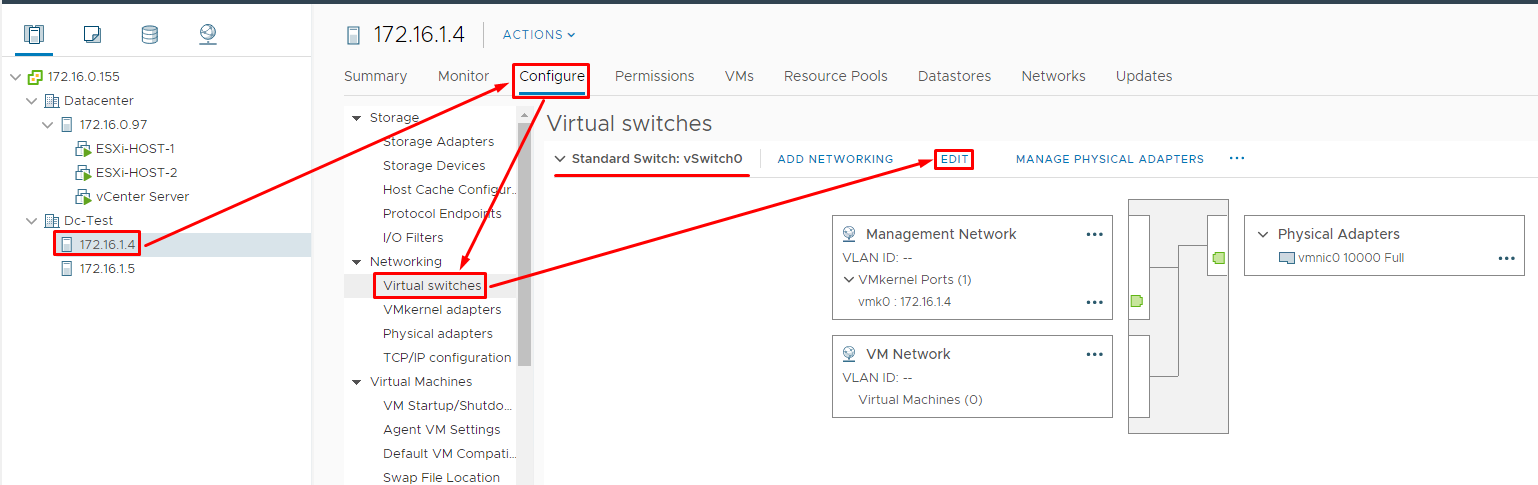 On each virtual node, edit vSwitch0 settings