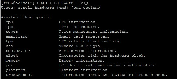 esxcli hardware – find out more about the host hardware.