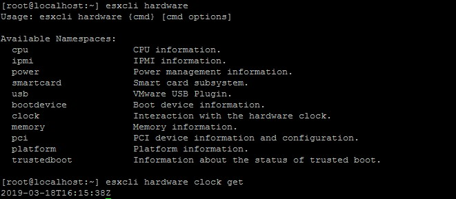 esxcli hardware clock (get/set) – getting or setting up ESXi system time.