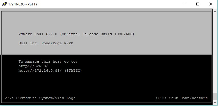 dcui starts an SSH session to work with the server console