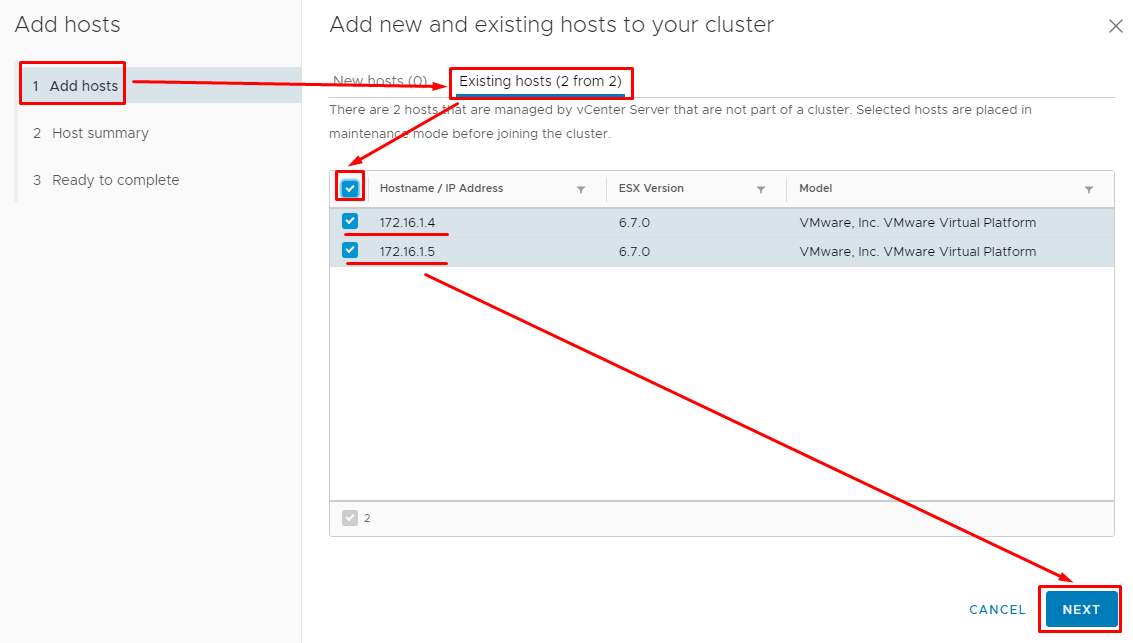 Select both virtual hosts from the list
