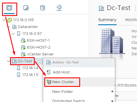Create the cluster in the Dc-Test datastore