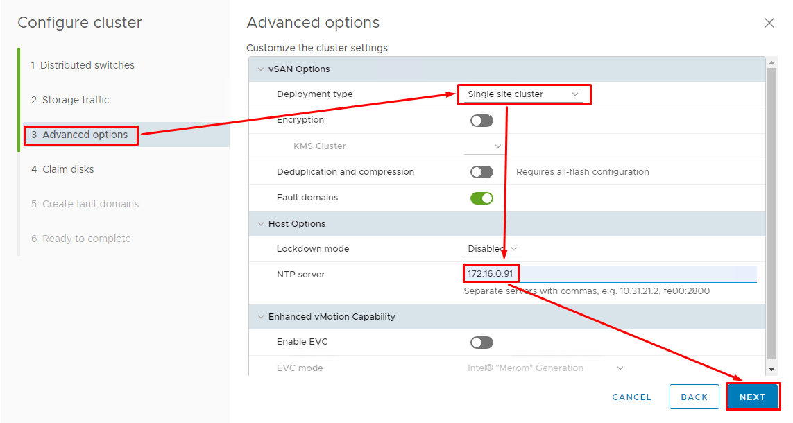In the Advanced options tab, select Single site cluster for the deployment type