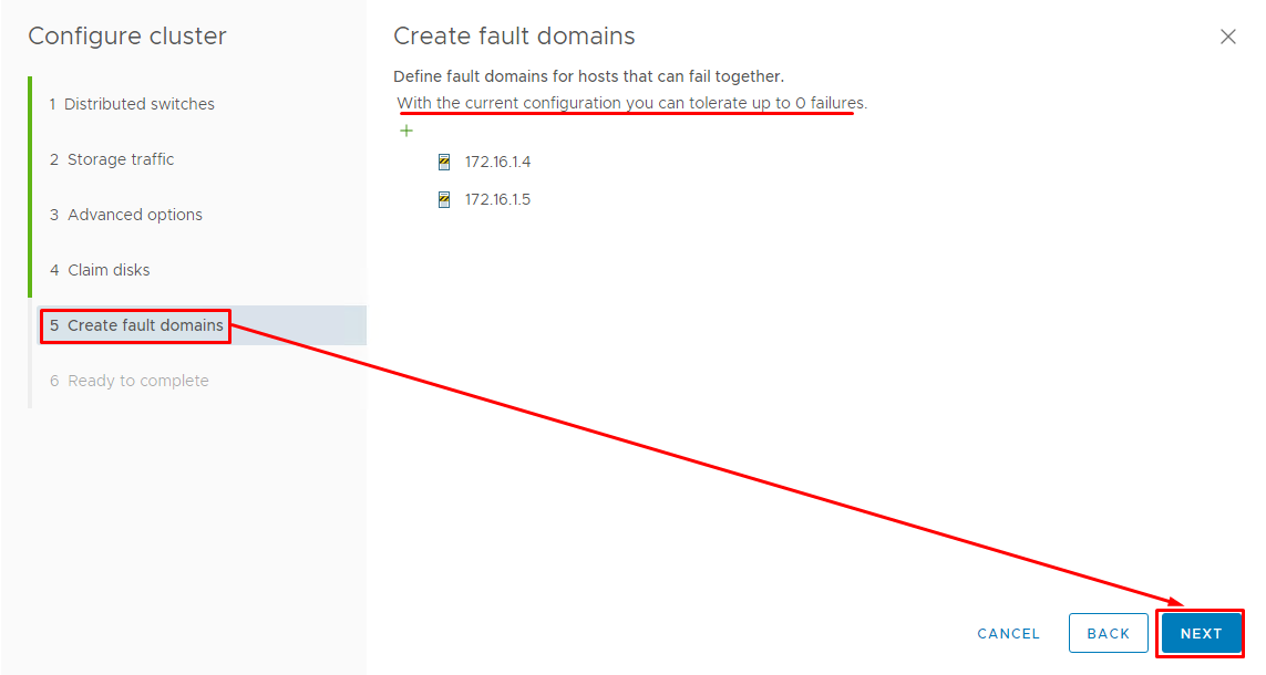 You need to decide on fault domains for hosts that can fail together
