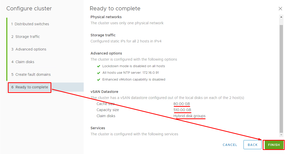Check the settings and click Finish to start vSAN datastore creation