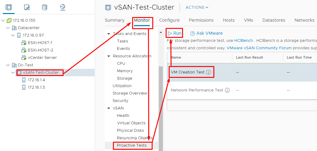 Run 2 simple tests to see whether cluster works as it should