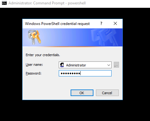 Enter the credentials and connect to the remote PowerShell session