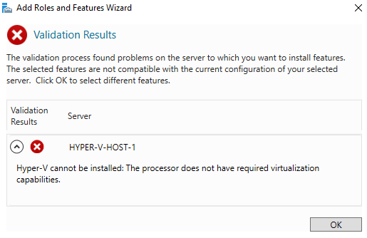 Installing the Hyper-V will fail.