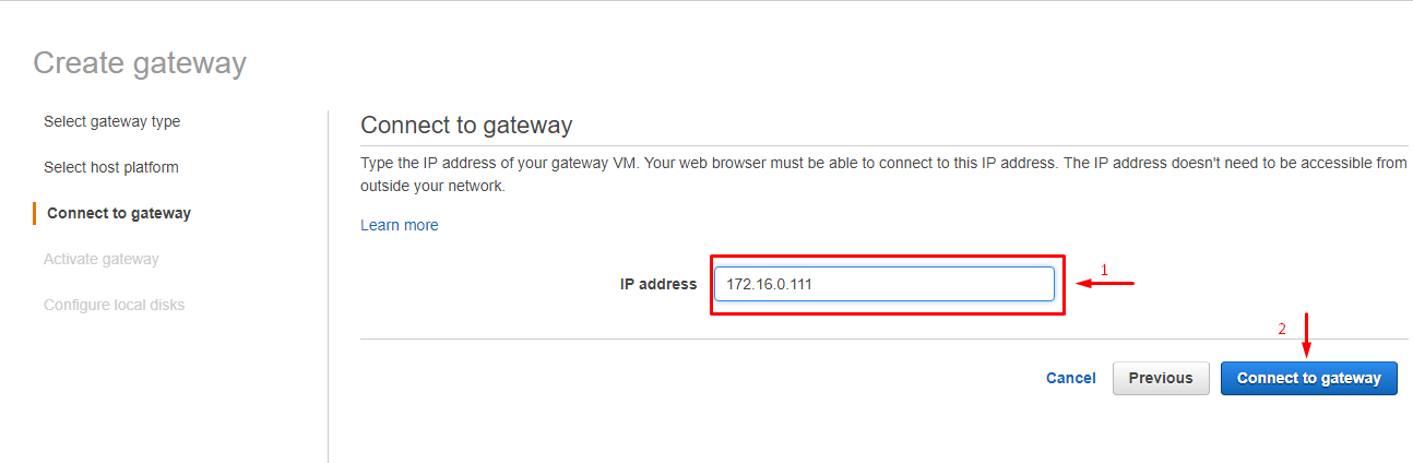 Enter the static IP address appointed to our gateway LAN card (172.16.0.111).
