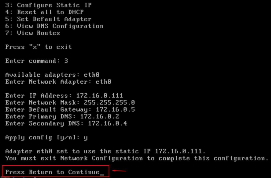 Choose a static IP address from the subnet 172.16.0.111