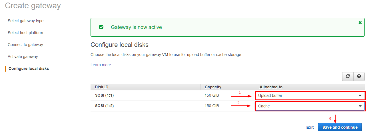Configure virtual disks for the upload buffer and cache.