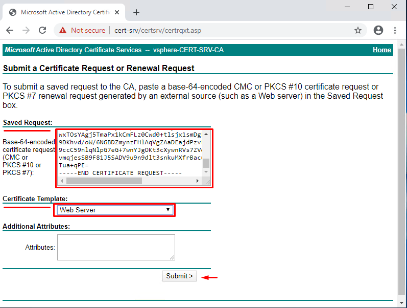 Request a certificate > advanced certificate request