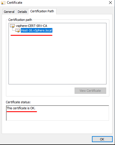 The certificate passes verification successfully